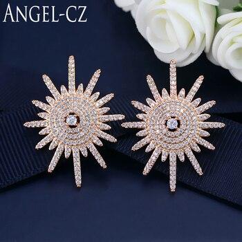 61cb244e0921 ANGELCZ elegante oro Color de rosa de copo de nieve pendientes Micro Pave  Bling Zirconia cúbica joyería de las mujeres con plata 925 pines AE133