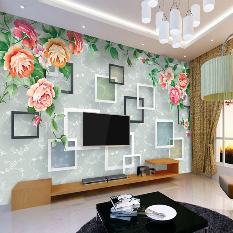 Custom Country Wallpapers Photo Frame Floral Wall Murals Home Decor