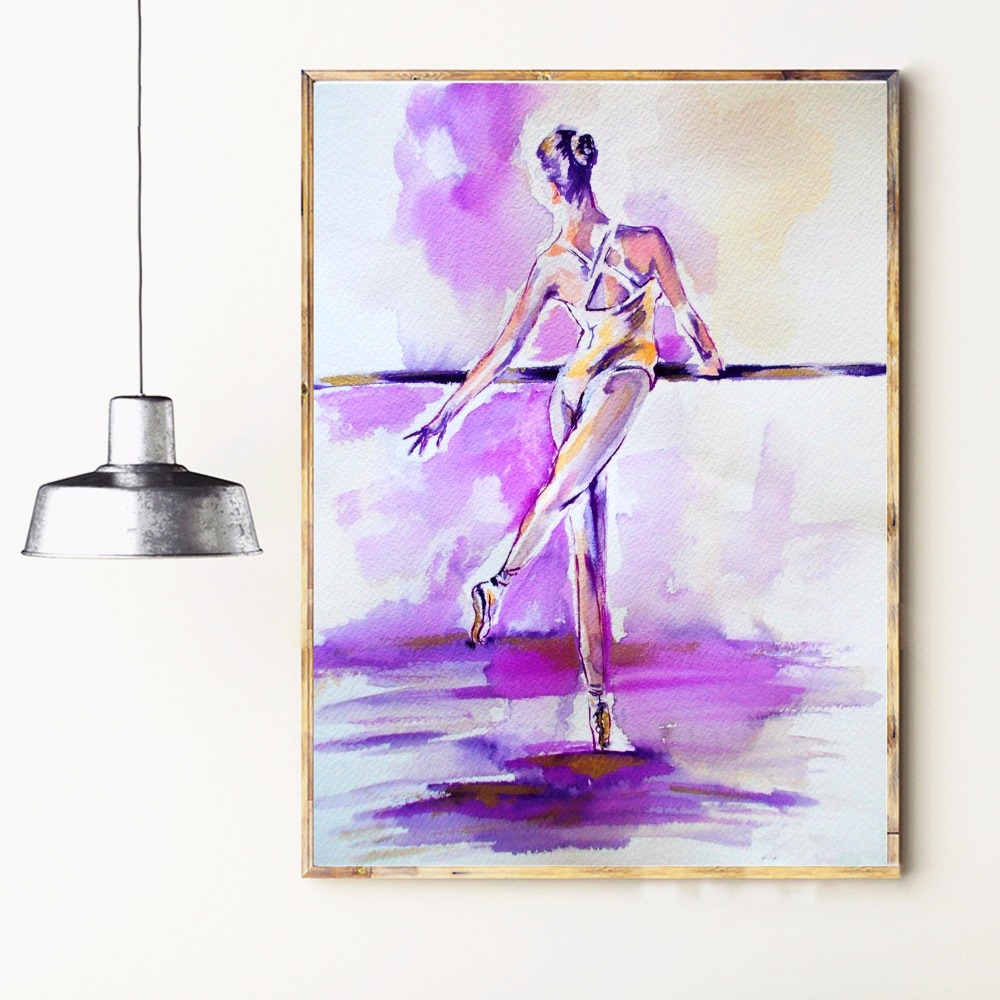 Acuarela Bailarina Mujeres Arte de la Lona Impresión Pintura Cartel - Decoración del hogar - foto 3