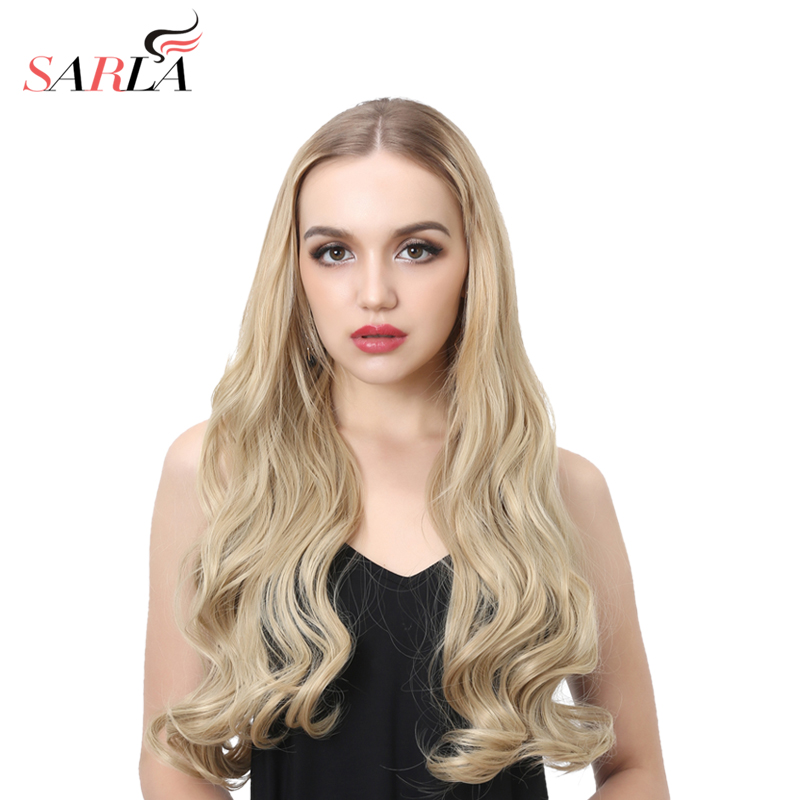 SARLA 22 Long Curly U Part Half Wig For Black Hair Synthetic Wig Clip in Hair Extensions None Lace Kosher European Wigs UW012