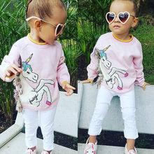 Осенне-зимний свитер с длинными рукавами и принтом единорога для маленьких девочек; футболка для малышей; милая повседневная одежда; От 1 до 7 лет