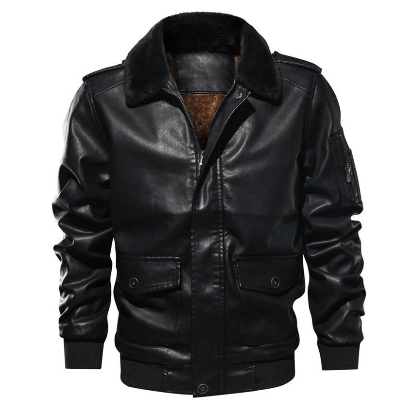 Invierno Cuero 733 Windbreakers brown Abrigos Thicking Cuello Piel De Táctico Outwear Chaqueta Black Vuelo Capa Bolsillo A xTHXqHEw