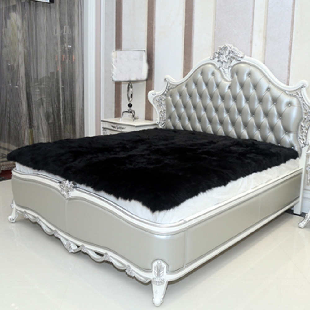 Black Faux Sheepskin Rug Long Faux Fur Blanket Decorative
