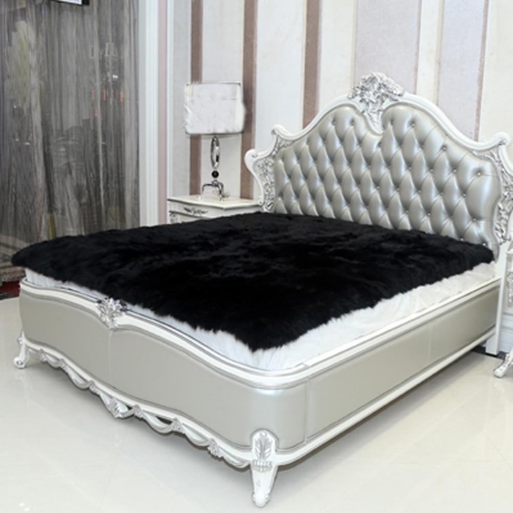 Black Faux Sheepskin Rug Long Faux Fur Blanket Decorative ...