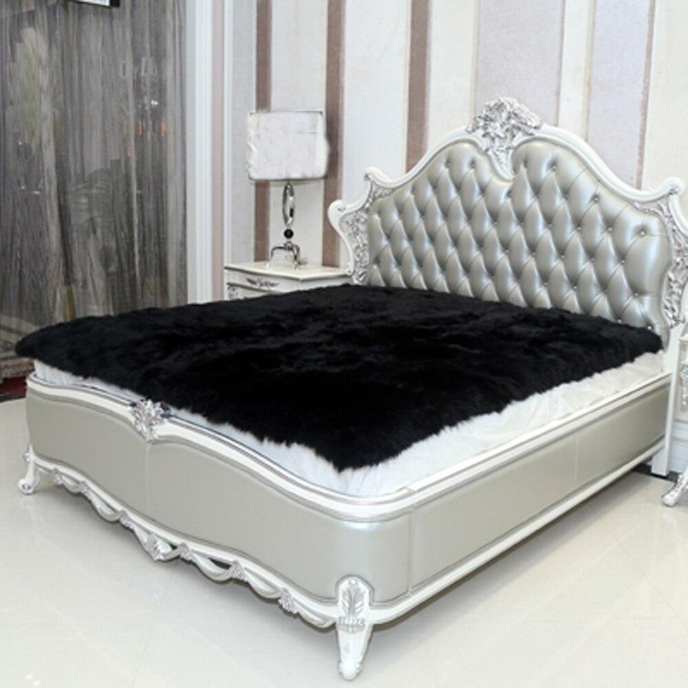Tapis en peau de mouton noir couverture en fausse fourrure couvertures décoratives tapis de sol artificiel tapis et tapis pour tapis de fourrure de salon