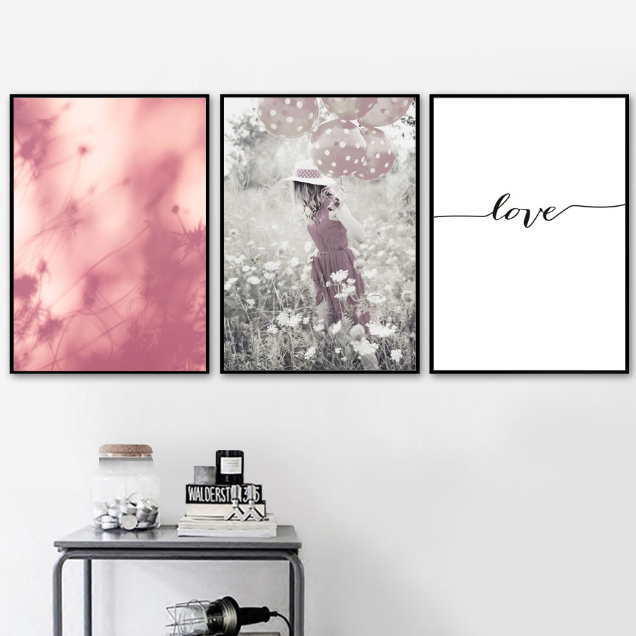 Feather Dandelion Girl Love Quotes Geometric Wall Art Canvas Painting Nordic Posters And Prints Wall Pictures For Living Room in Painting Calligraphy from Home Garden