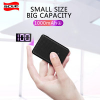 Mini 10000mAh power bank with LED display Scud slim external battery for xiaomi mobile powerbank small usb portable power bank