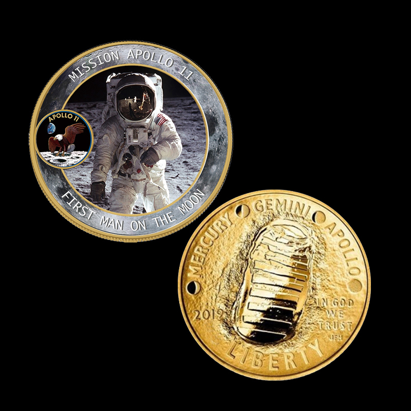2 oz  Fine Silver Bar Set 50th Years Apollo 11 Moon Landing USA 2019 1 Dollar