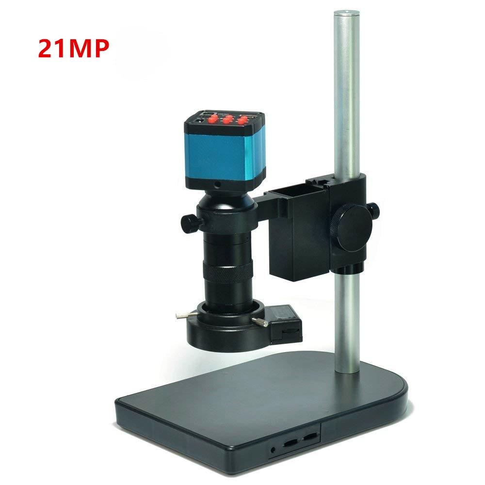 21MP 1080P 60FPS 2K HDMI USB Industrial Electronic Digital Video Microscope Camera 100X C Mount Lens 40 LEDFor Lab PCB Soldering