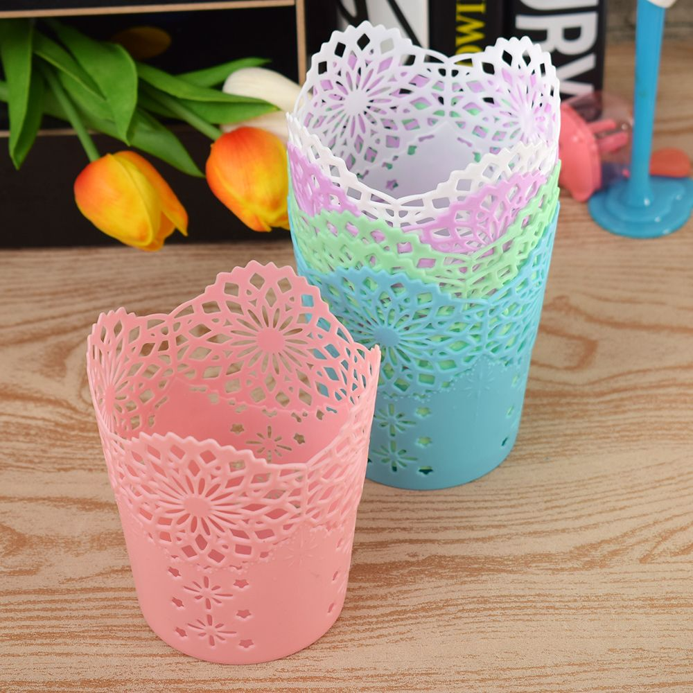 Fashion Creative Hollow Flower Pencil Holder Plastic Pen Holder Makeup Brush Holder Multifunctional Storage Barrels Stationery