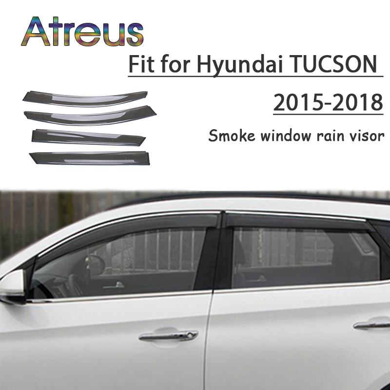 все цены на Atreus 1set ABS For 2018 2017 2016 2015 Hyundai Tucson Accessories Car Vent Sun Deflectors Guard Smoke Window Rain Visor онлайн