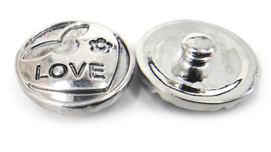 MOODPC Charms Metal Love-Letter-Design Snap-Button Engrave DIY