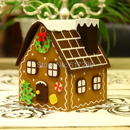 1pc christmas gingerbread house felt brown house candy bag christmas gift decoration - Christmas Gingerbread