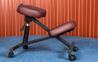 Ergonomically Designed Knee Chair Leather 2 Color Coffee Black Office Kneeling Chair Ergonomic Posture Chair Design
