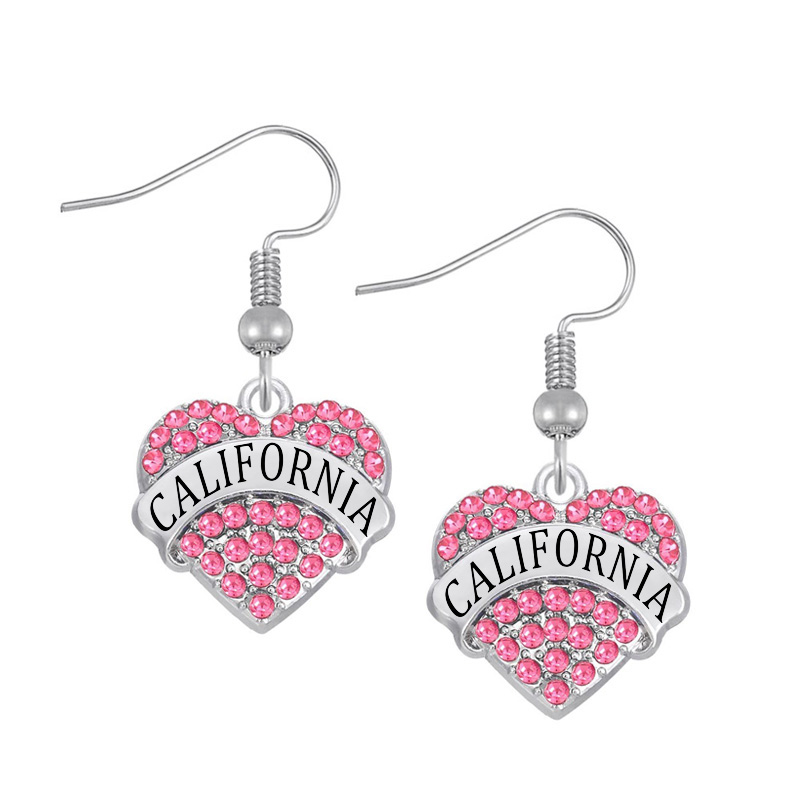 DOUBLE NOSE One Piece Hotsale Alloy Silver Tone California State Pave Words Charms Earrings For Women(China)