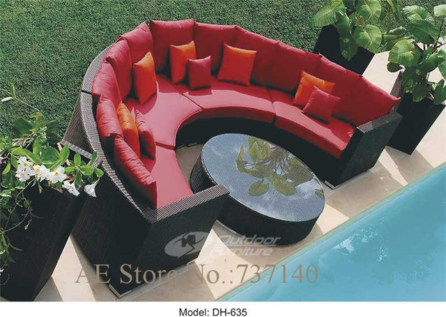 Rattan Crescent Customized Sectional Sofa 1