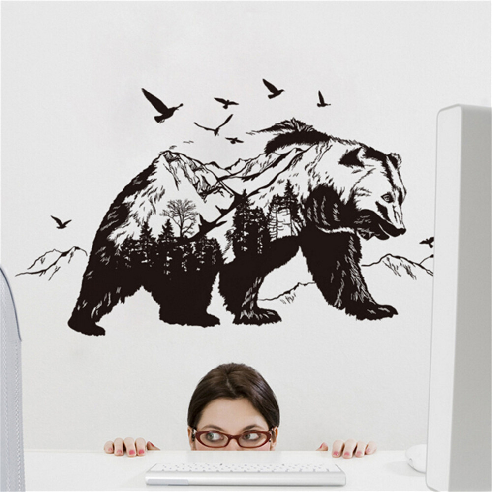 Mountain Black Bear Birds Large Wall Stickers Home Decor