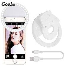COOLJIER, кольцевой светильник для селфи, USB зарядка, портативная вспышка, светодиодная вспышка для камеры, телефона, селфи, кольцевой светильник, клип, видео светильник, для улучшения ночной съемки