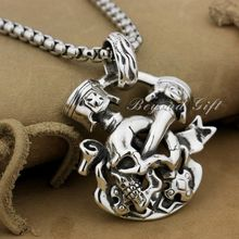 Huge Heavy 925 Sterling Silver Unique Skull Cross Mens Biker Pendant 9P008(Necklace 24inch)