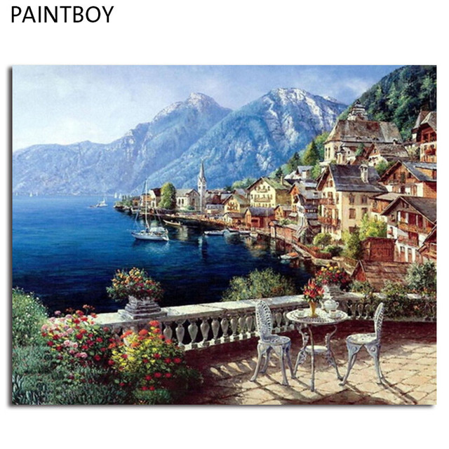 Us 577 63 Offgerahmte Landschaft Diy Malen Nach Zahlen Diy Digitales ölgemälde Auf Leinwand Wohnkultur Für Wohnzimmer Wandkunst Gx4790 4050 Cm