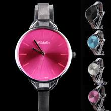 Luxury Women Sketchy Oversize Bezel Fashion Lady Wrist Watch with Stainless Steel Narrow Band Waterproof(China)