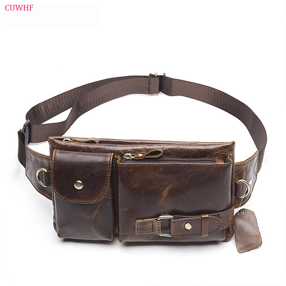 CUWHF Vintage men's leather purse Waist Bag Black Adjusted Belt Bag man Casual Waist Pack Pouch Brief Design fashion waist bag