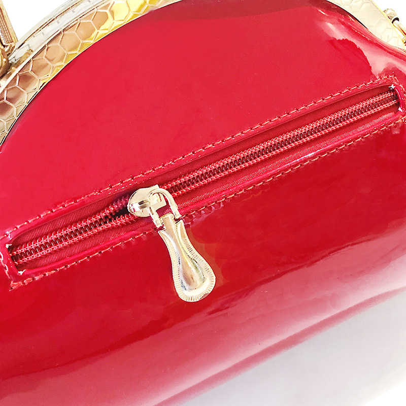 Image 2 - Black Red Luxury Patent Leather Tote Handbags Women Bags Fashion Female Clutch Ladies Party Purses Evening Bag Wedding Chain Sac-in Top-Handle Bags from Luggage & Bags
