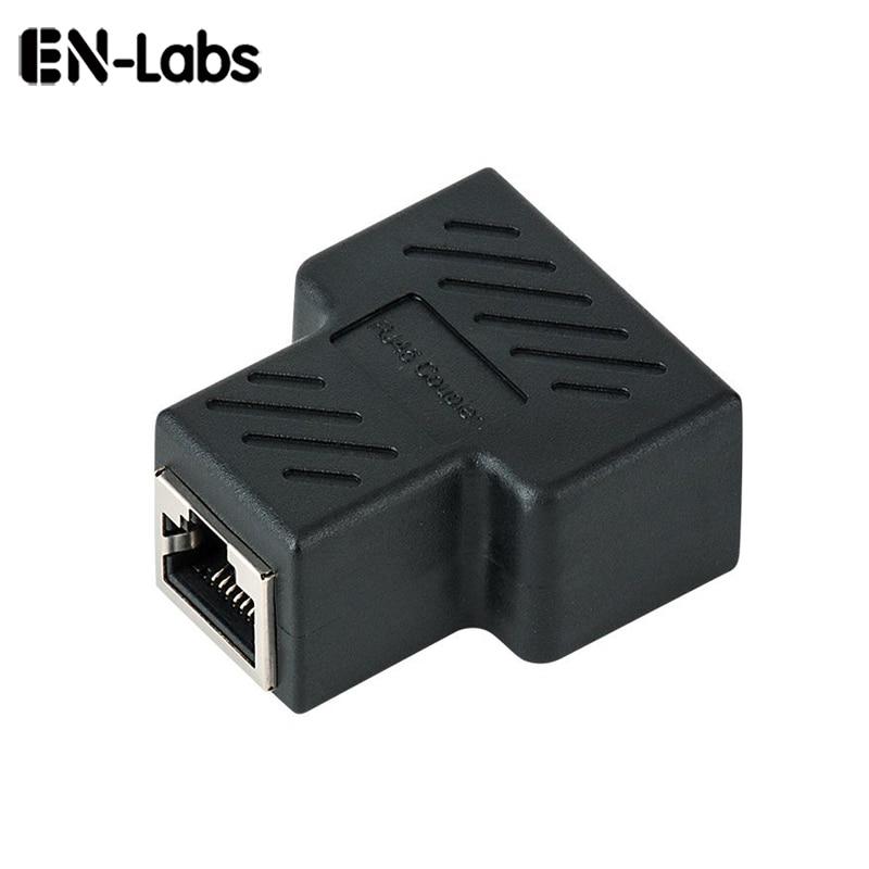 En-Labs RJ45 Splitter Adapter, RJ45 Female 1 To 2 Ethernet Coupler, 8P8C LAN Network Extender Connector For Cat5/5e,Cat6,Cat7