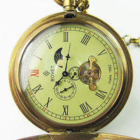 Relógio de bolso turbilhão de capa dupla antiga moonphase