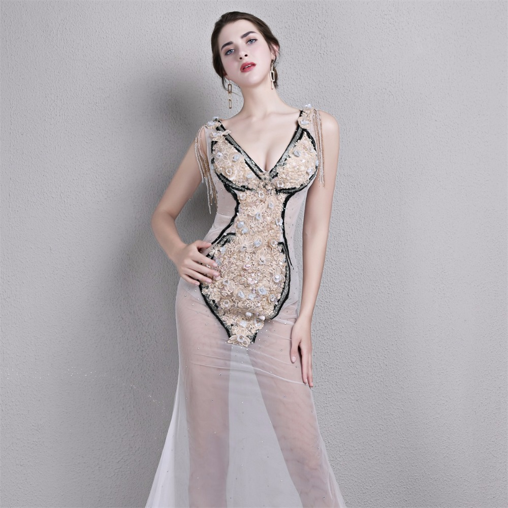 Floor-Length Lace manual Gauzy Sexy Star full dress Evening dress Cocktail dress Night entertainment venue dress