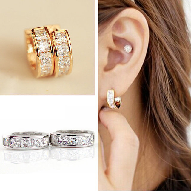 1Pair Stainless Steel Inline Crystal Earrings Hoop Studs Counple Brincos  Earrings for Women Men Jewelry 3b829e536