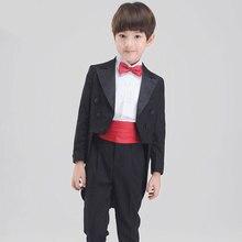Nueva moda bebé niños esmoquin traje trajes para bodas formal anfitrión  negro boda del smoking del vestido traje 19bfeee4a90