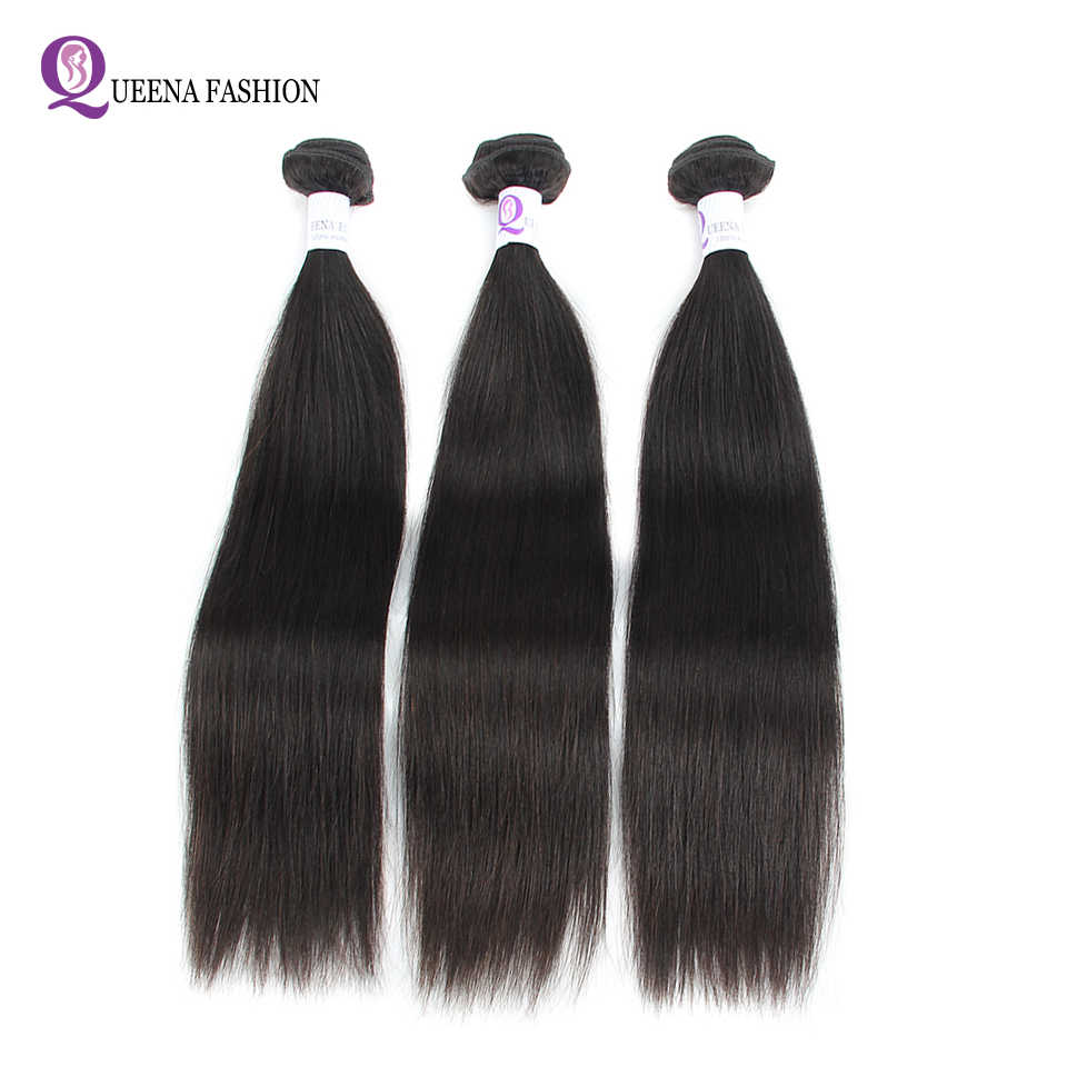 "Queena Fashion 3 Bundles Indian Straight Hair Weave Bundles Double Weft Cheap Human Hair Bundles 8""-28"" NonRemy Hair Extensions"