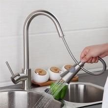 А Фирменная Новинка поворотный вытащить Матовый никель вытащить кухонный кран раковина смеситель Носик смесители воды