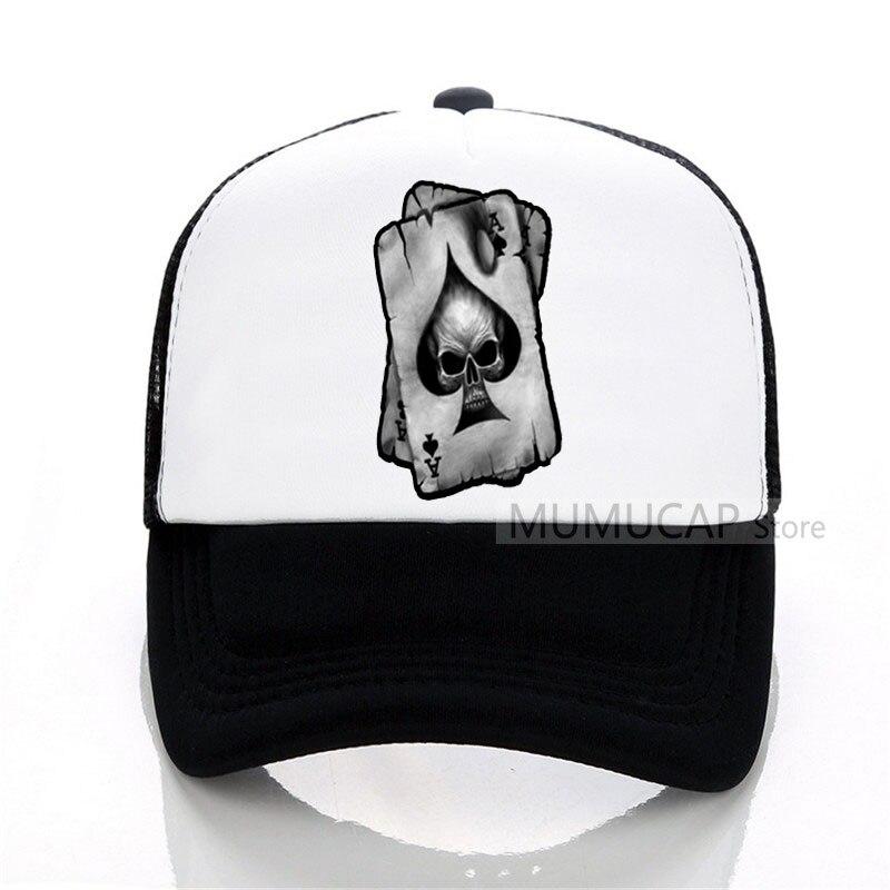 Fashion Brand Poker   cap   Summer Men New Spades A Skull Interesting Print   Baseball     Caps   Casual Women Mesh trucker   cap   hat