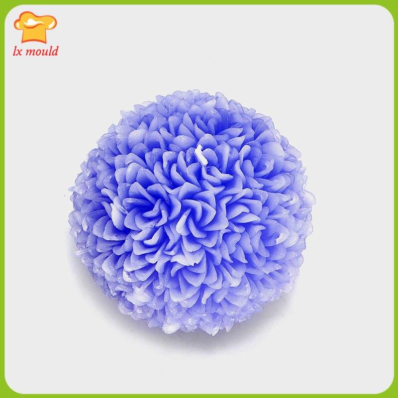 2018 nouvelle fleur en relief ronde bougie silicone moule fleur boule silicone outil
