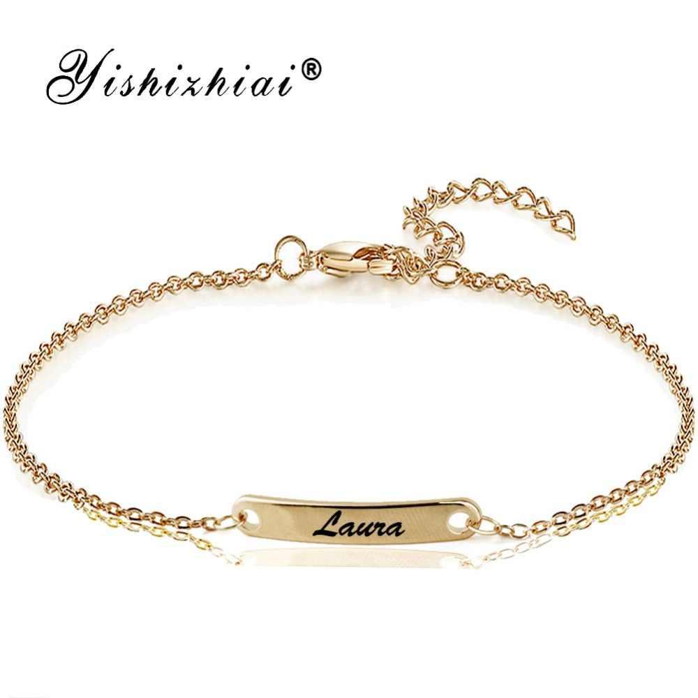Пользовательское имя, браслет из нержавеющей стали, золотой браслет для женщин, персонализируемая бижутерия, подарок для лучших друзей