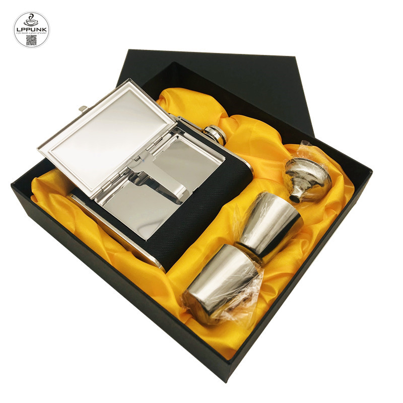 bpa free 5/6oz whisky flagon Stainless steel alcohol hip flask with pu leather Mirror Cigarette case HIP FLASK SET WITH GIFT BOX