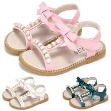 Summer Style Children Sandals Girls Princess Beautiful Pearl Bowknot Shoes Toddler Kids Flat Sandals Baby Girls Roman Shoes P30 2017 summer girls sandals children princess shoes for party wedding dress dance kids toddler shoes baby flat sandals