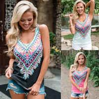 Sexy Frauen Boho Tank Gedruckt Top Sleeveless Lose T-Shirts Sommer Strand Casual T-shirt Neue Mode Streetwear