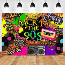 NeoBack Back to The 90s Backdrop Graffiti Brick Wall Hip Hop Birthday Party Photography Background Radio Record Photo Backdrops