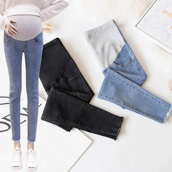 Envsoll 2019 ubrania ciążowe dziewiąte spodnie jeansy ciążowe dla kobiet w ciąży ubrania Stretch Skinny dżinsy spodnie ciążowe tanie i dobre opinie Macierzyństwo WOMEN light Stonewashed COTTON Poliester Elastyczny pas Denim Natural color