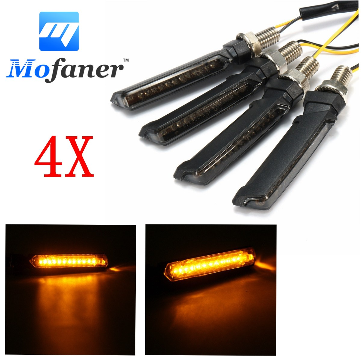 4X Universal Motorcycle 12 LED Turn Signal Indicator Light Amber Blinker E-mark 12V