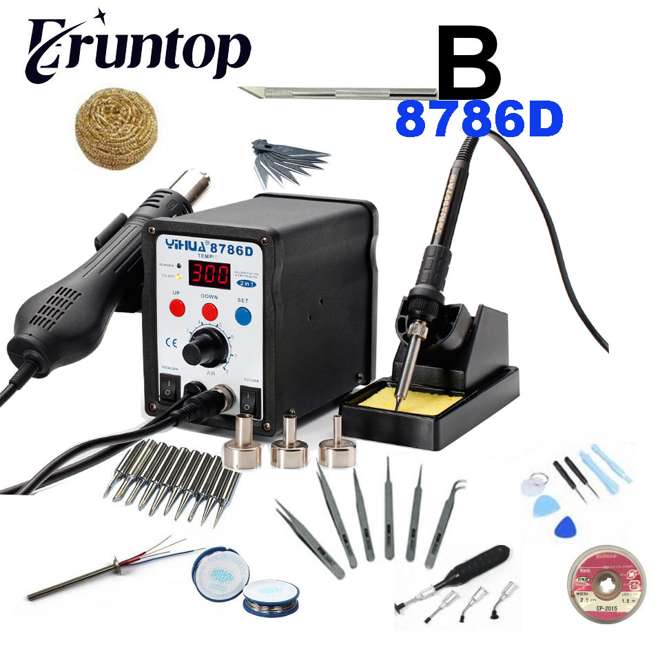 SMD YIHUA 8786D Hot Air Gun Station Soldering With Iron Soldering Station Digital Rework Station цены