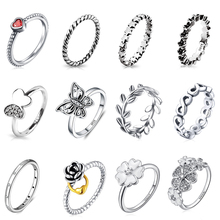 12 Style Silver Ring Charms Butterfly Red Heart Stone Flower Lock Fit Women Party Gift