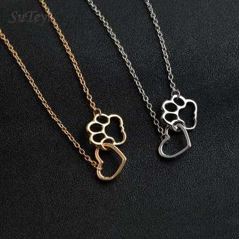 Pet Paw Footprint Love Heart Necklaces