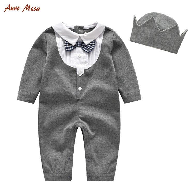 Fashion Gentleman Baby Boy Romper With Imperial Crown Style Hat 100%Cotton Cotton Grey Onesie Birthday Party Prince Jumper