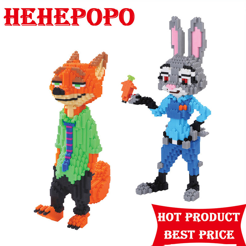 3800-6200pcs 3D Cute Cartoon Fox And Rabbit DIY Mini NanoBlocks Big Size Diamond Mini Blocks Building Brick Toy For Kids Aged 8+ 1500 2200 pcs big size plastic cute cartoon designs of mini nano blocks diamond mini block toys for children diy game
