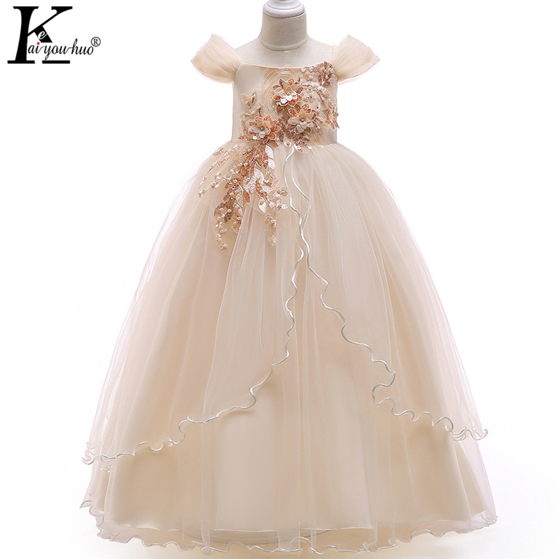 2018 Kids Dresses For Girls Christmas Clothes Children Princess Dress Teenagers Wedding Dress 4 5 6 7 8 9 10 11 12 13 14 Years children princess clothes white grey lavender pink dresses kids 5 6 7 8 9 10 11 12 13 years long party dress girls wedding gowns