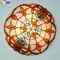 FUMAT 16 Classic Ceiling Lamps Tiffany Baroque Stained Glass Ceiling Light For Bed Room living Dining Room Kitchen LED Art Lamp